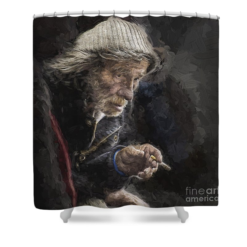 Homeless Shower Curtain featuring the photograph Man with cigarette by Sheila Smart Fine Art Photography