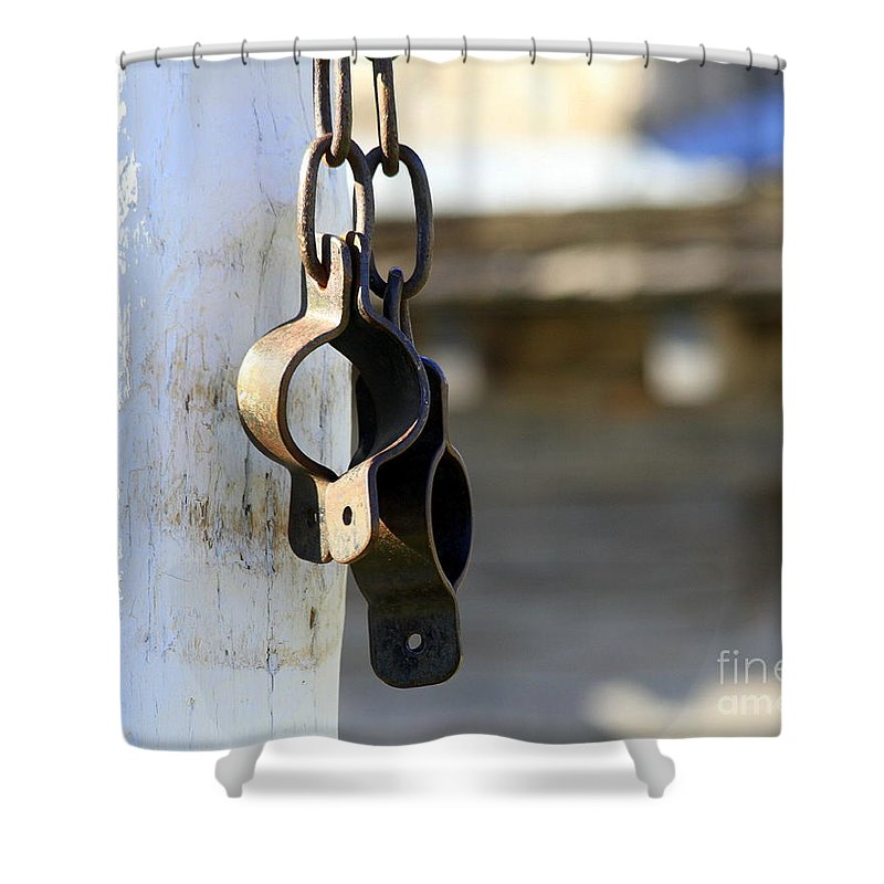 Manacles Shower Curtain featuring the photograph Manacles At The Old Fort by Catherine Sherman