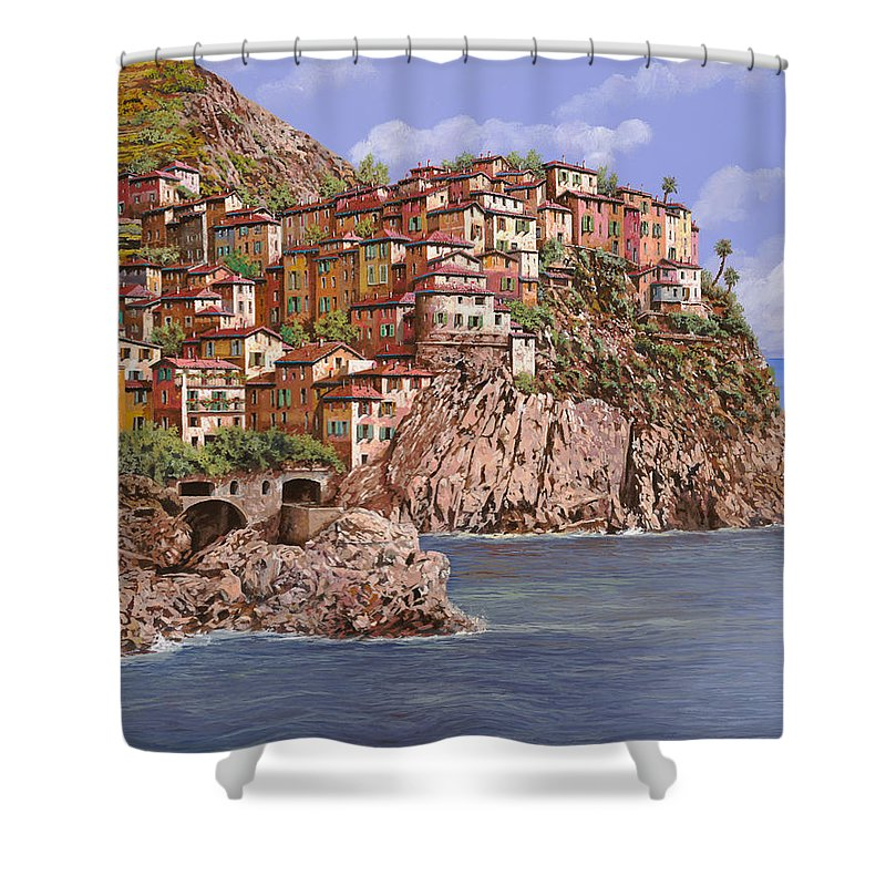 Seascape Shower Curtain featuring the painting Manarola  by Guido Borelli