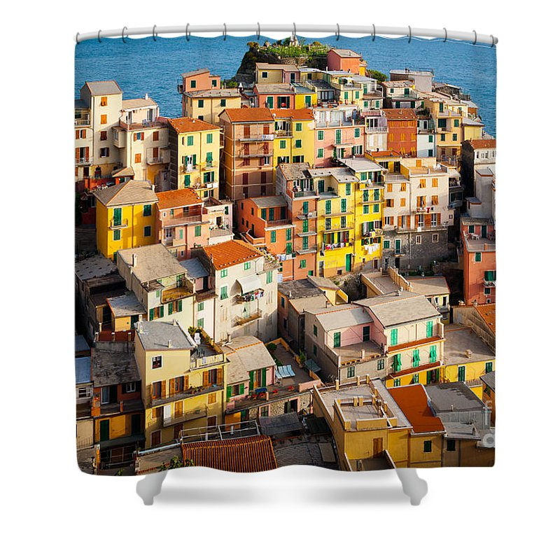 Cinque Terre Shower Curtain featuring the photograph Manarola Town by Inge Johnsson