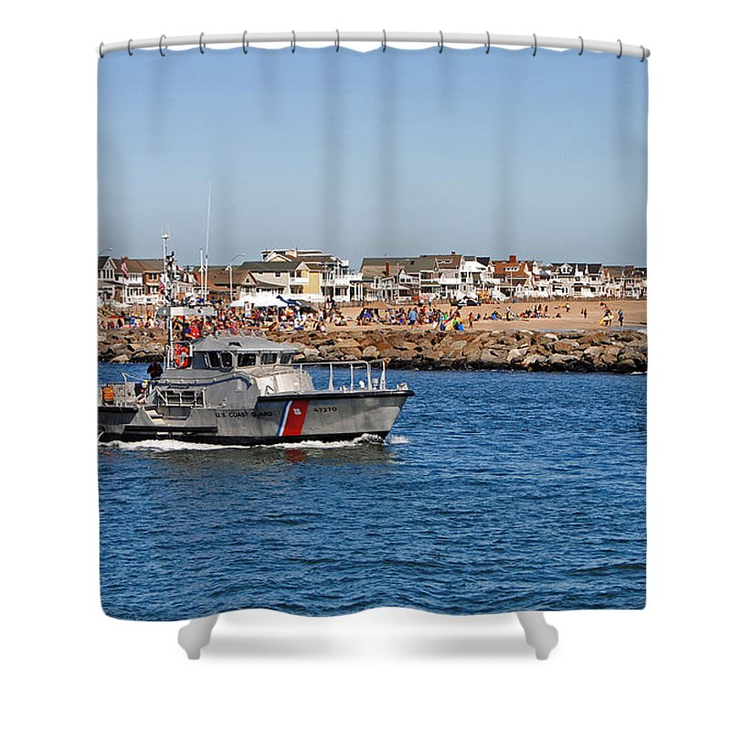 Maritime Shower Curtain featuring the photograph Manasquan Inlet Coast Guard by Skip Willits