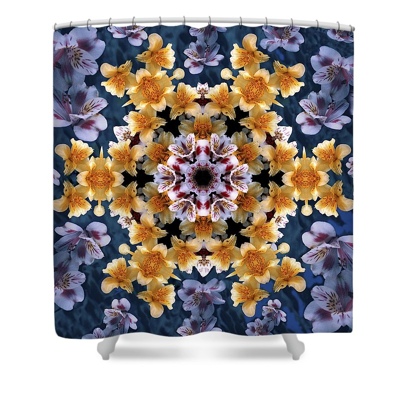 Mandala Shower Curtain featuring the digital art Mandala Alstro by Nancy Griswold