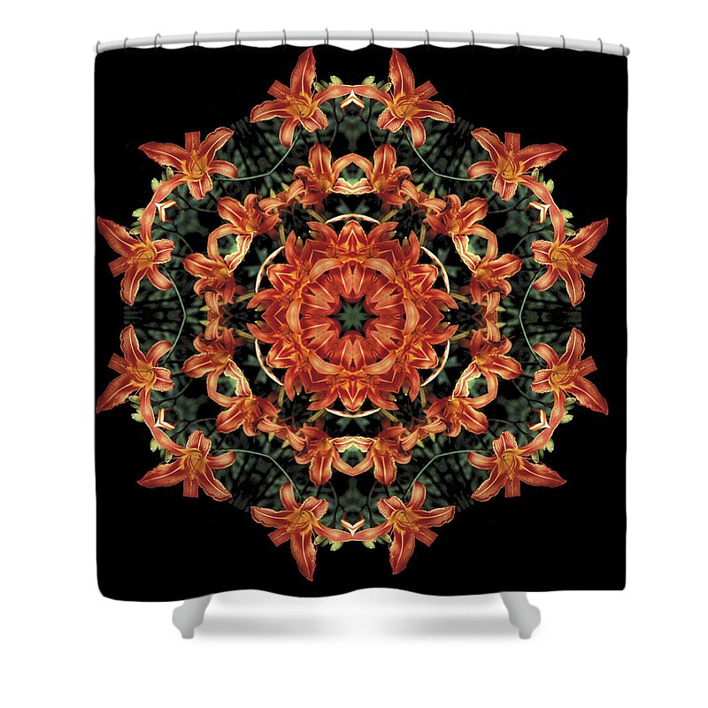 Mandala Shower Curtain featuring the photograph Mandala Daylily by Nancy Griswold
