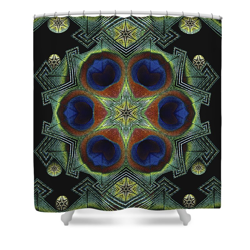 Mandala Shower Curtain featuring the digital art Mandala Peacock by Nancy Griswold