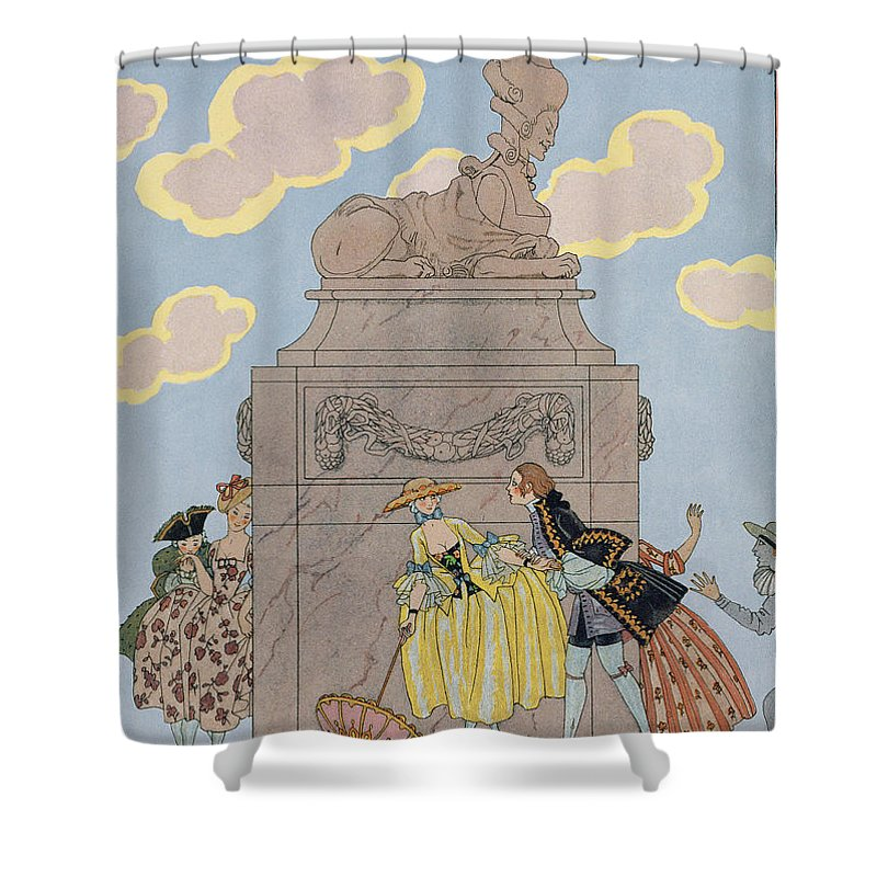 French Shower Curtain featuring the painting Mandoline by Georges Barbier