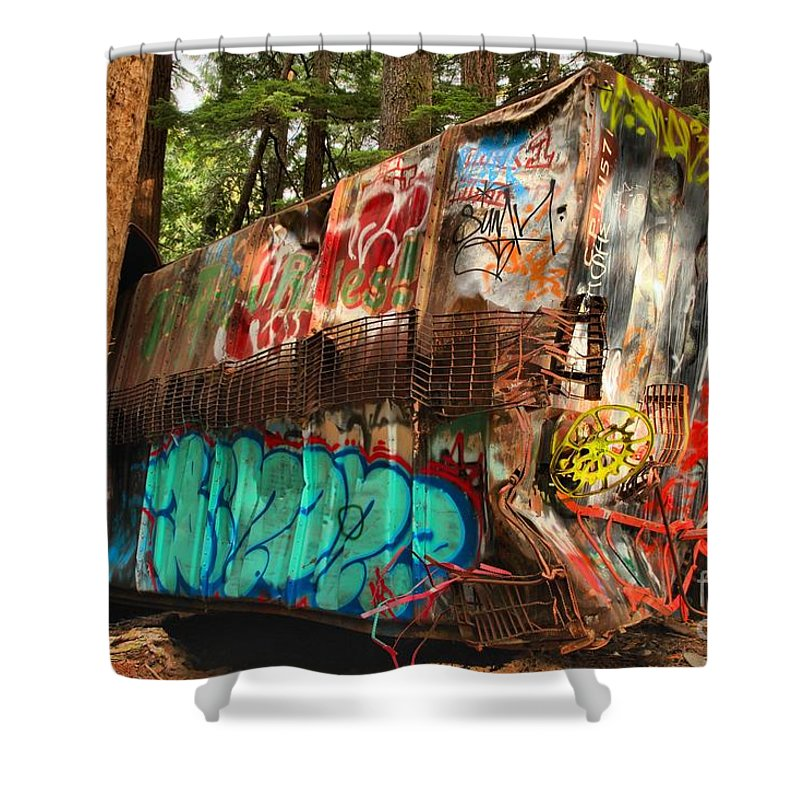Train Wreck Shower Curtain featuring the photograph Mangled Whistler Train Wreck Box Car by Adam Jewell