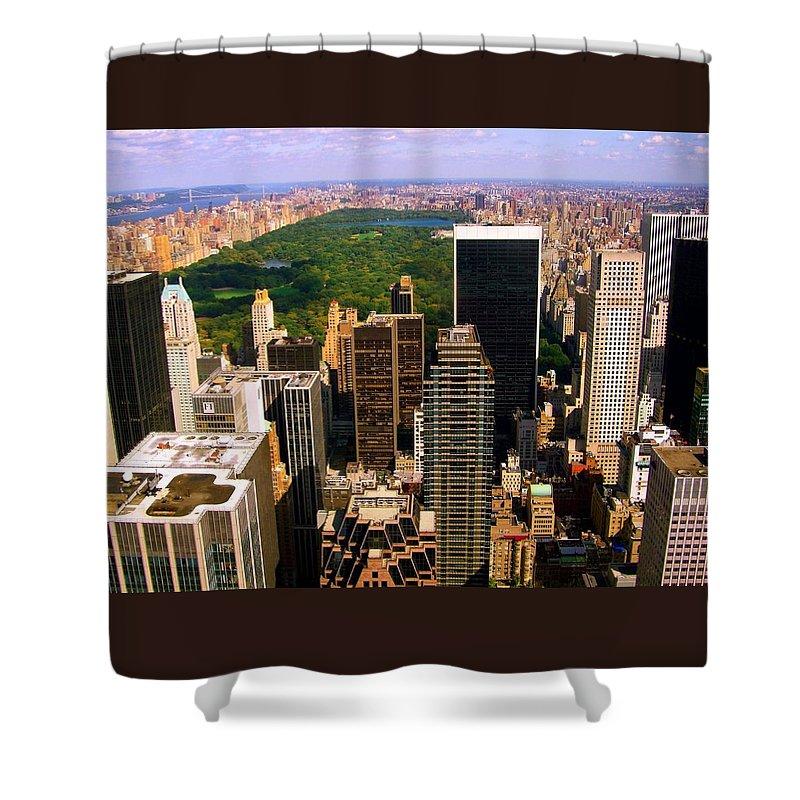 Manhattan Prints Shower Curtain featuring the photograph Manhattan And Central Park by Monique's Fine Art