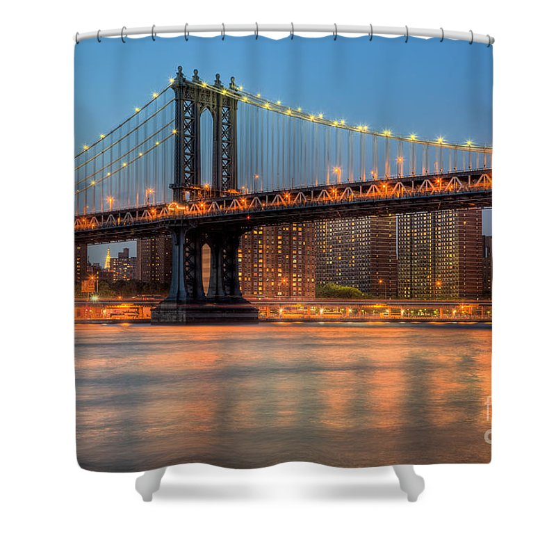 Clarence Holmes Shower Curtain featuring the photograph Manhattan Bridge I by Clarence Holmes