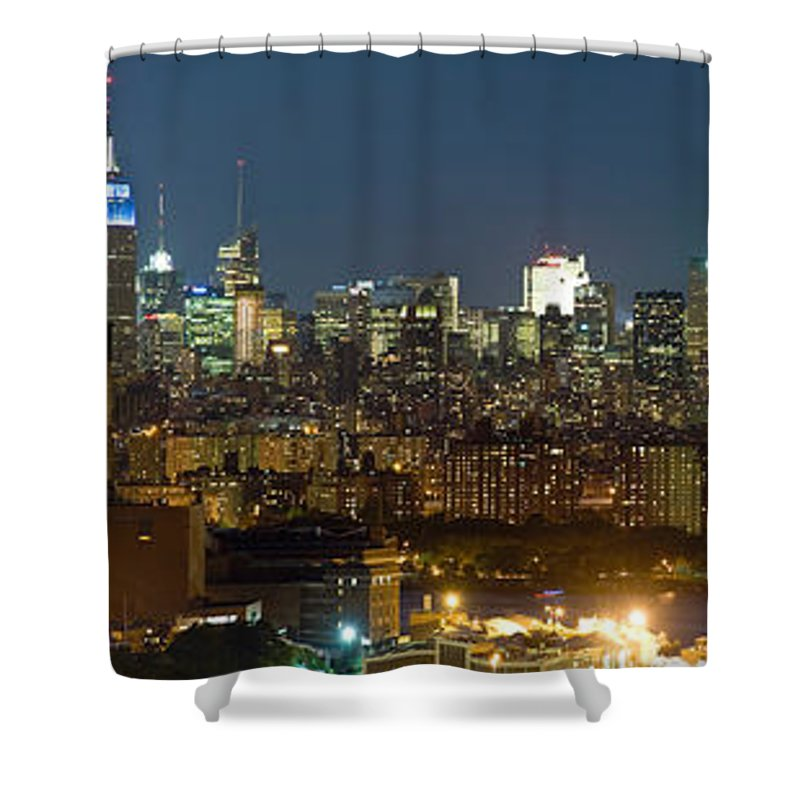 Photography Shower Curtain featuring the photograph Manhattan Skyline, New York City, New by Panoramic Images