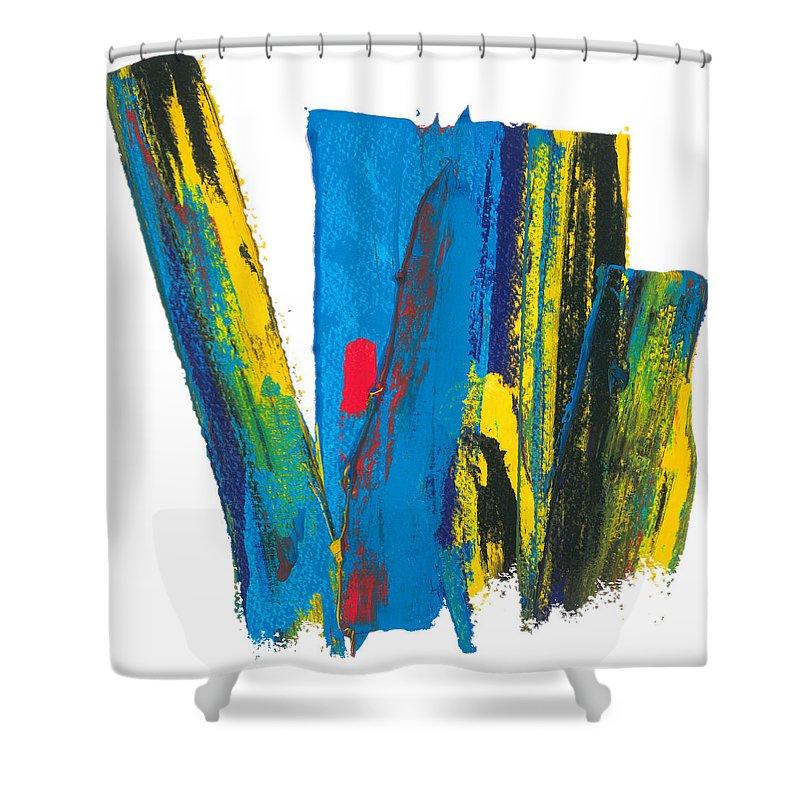 Contemporary Shower Curtain featuring the painting Manhattan Skyline by Bjorn Sjogren