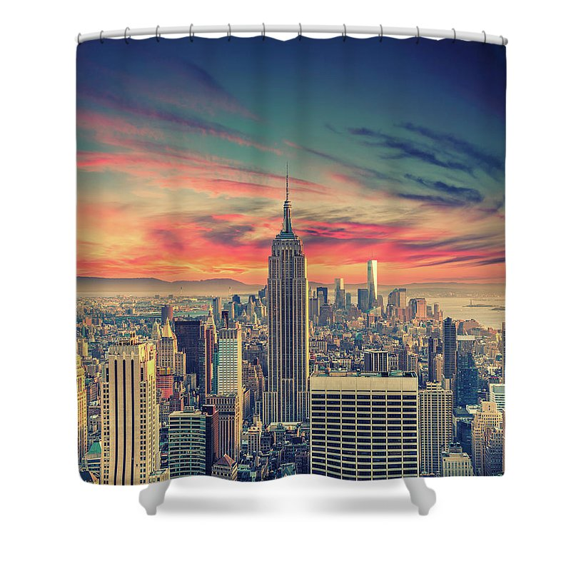 Panoramic Shower Curtain featuring the photograph Manhattan by Zsolt Hlinka