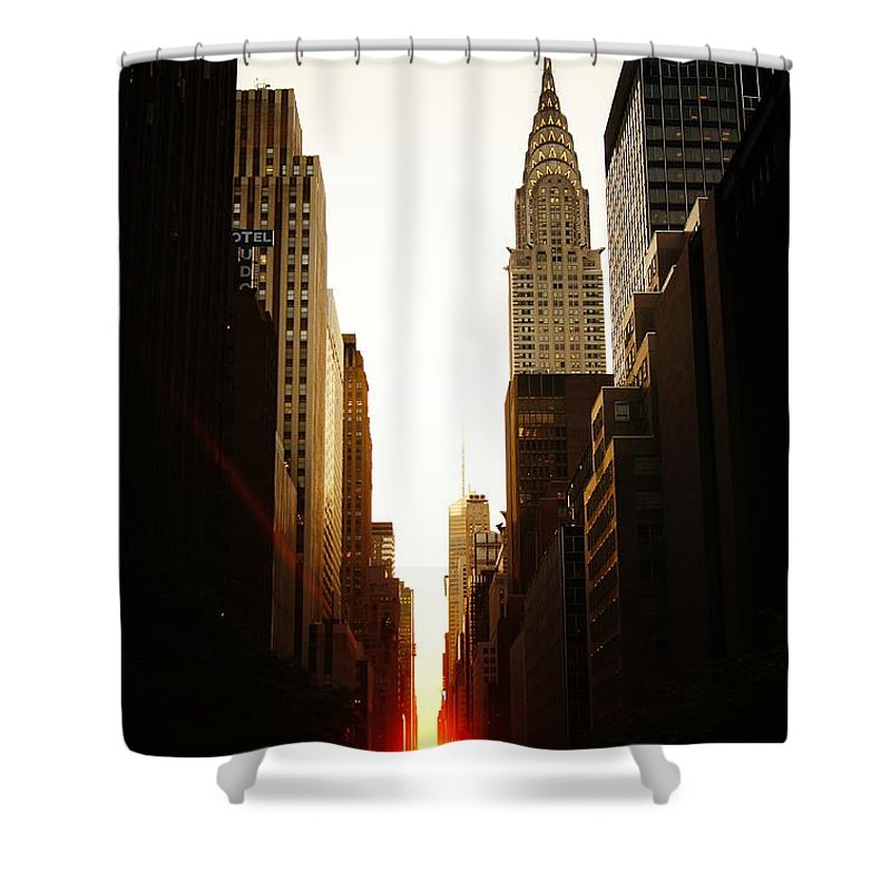 New York City Shower Curtain featuring the photograph Manhattanhenge Sunset And The Chrysler Building by Vivienne Gucwa