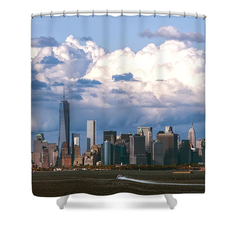 Lower Manhattan Shower Curtain featuring the photograph Manhattanincloudbank by S Paul Sahm