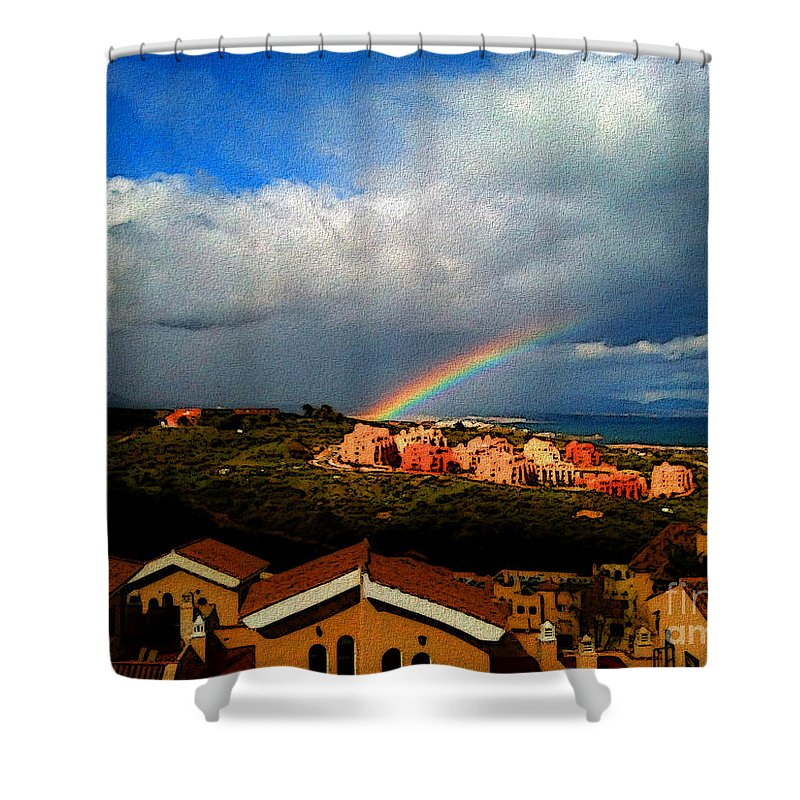 Manilva Shower Curtain featuring the photograph Spanish Landscape Rainbow And Ocean View by Carlos Tello