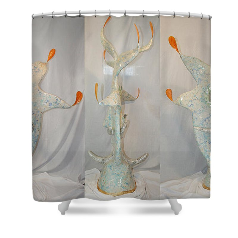 Jester Shower Curtain featuring the sculpture Manitou The Jester by Ric Bascobert