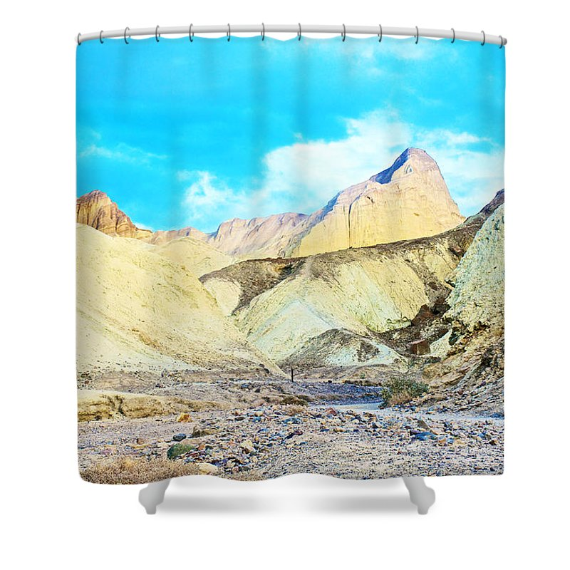 Manly Beacon From Golden Canyon In Death Valley National Park Shower Curtain featuring the photograph Manly Beacon From Golden Canyon In Death Valley National Park-california by Ruth Hager