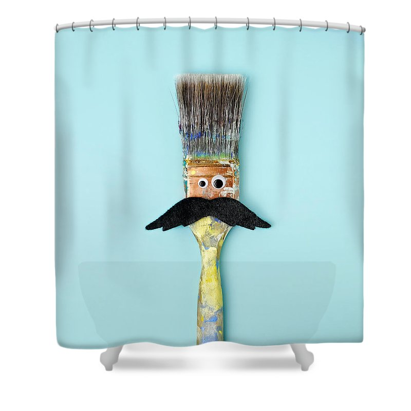 Work Tool Shower Curtain featuring the photograph Mans Face Crafted Onto Paintbrush by Juj Winn