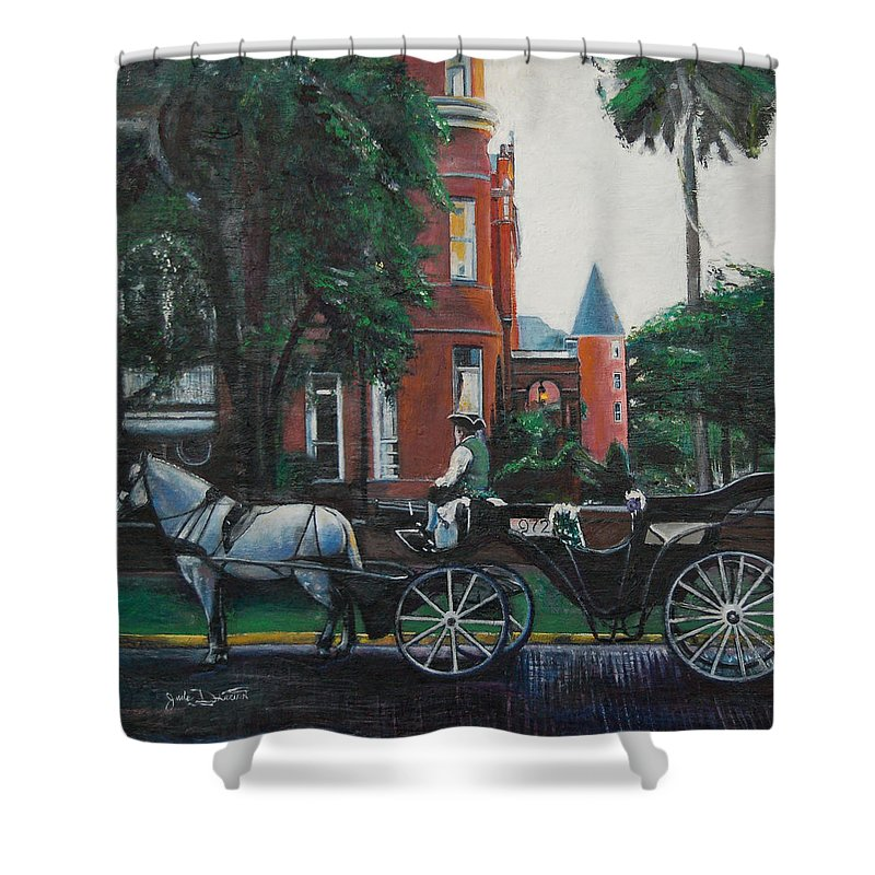 Shower Curtain featuring the painting Mansion On Forsythe Savannah Georgia by Jude Darrien