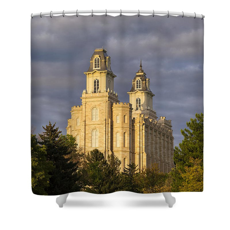 Temple Shower Curtain featuring the photograph Manti by Dustin LeFevre