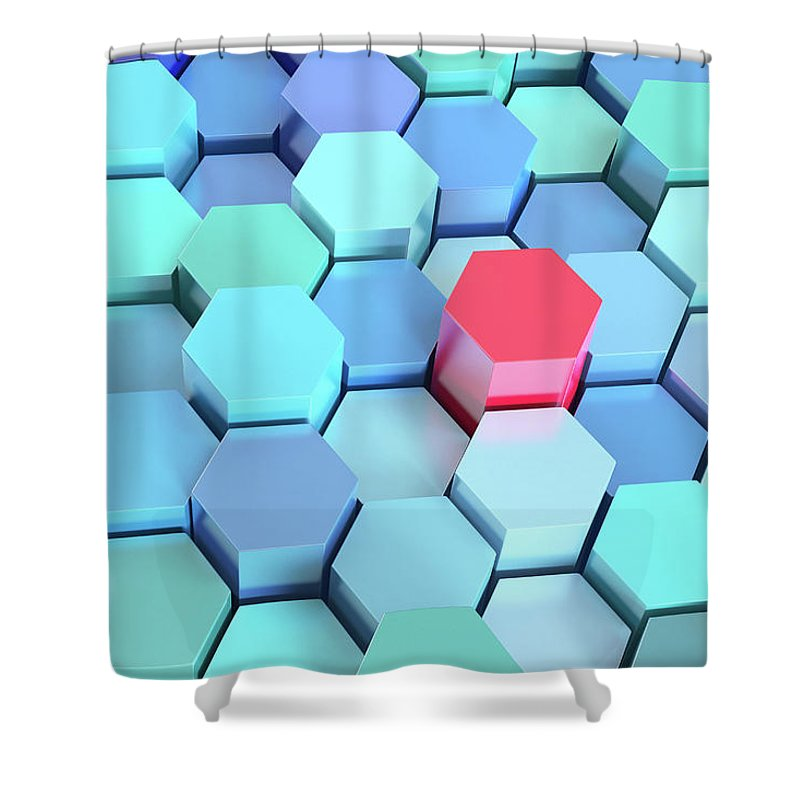 Grid Shower Curtain featuring the photograph Many Blue Hexagons, Various Heights by Dimitri Otis