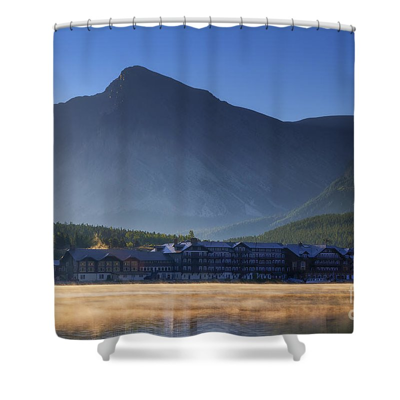 Many Glacier Hotel Shower Curtain featuring the photograph Many Glacier Hotel by Mark Kiver