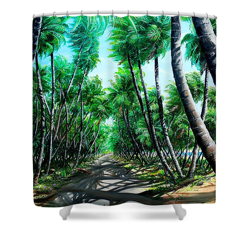 Coconut Trees Shower Curtain featuring the painting Manzanilla Coconut Estate by Karin Dawn Kelshall- Best