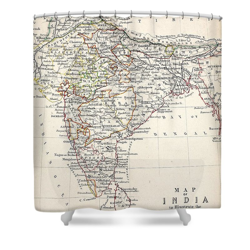 Map Shower Curtain featuring the drawing Map of India by Alexander Keith Johnson