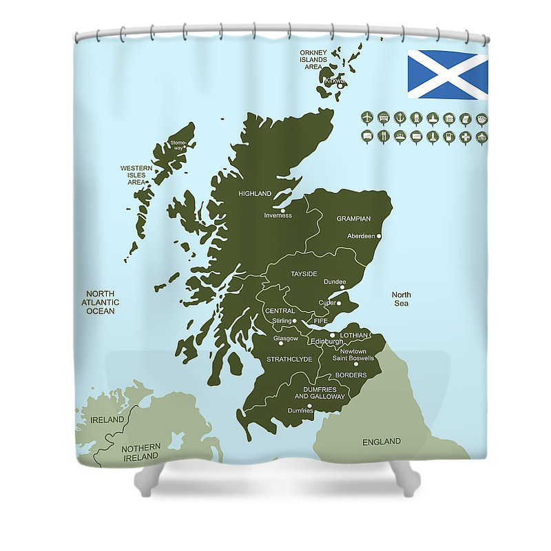 Glasgow Shower Curtain featuring the digital art Map Of Scotland by Poligrafistka