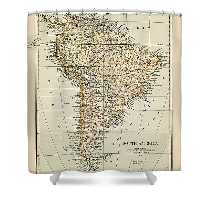 Burnt Shower Curtain featuring the photograph Map Of South America 1875 by Thepalmer