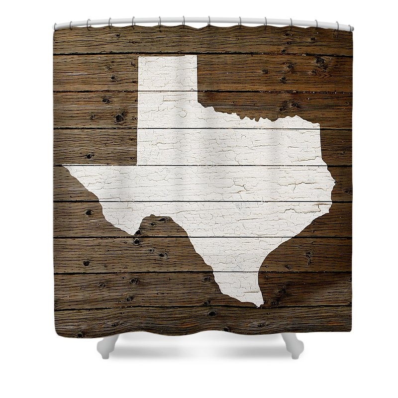 Map Of Texas Shower Curtain Featuring The Mixed Media Map Of Texas State  Outline White Distressed