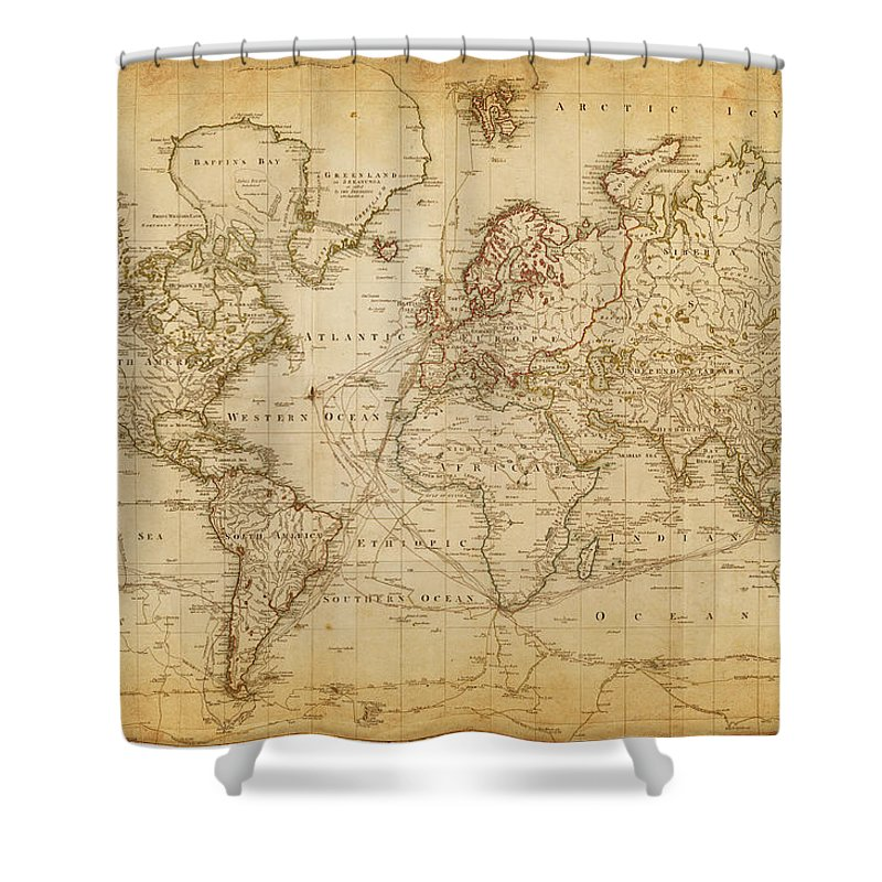 Globe Shower Curtain featuring the digital art Map Of The World 1800 by Thepalmer