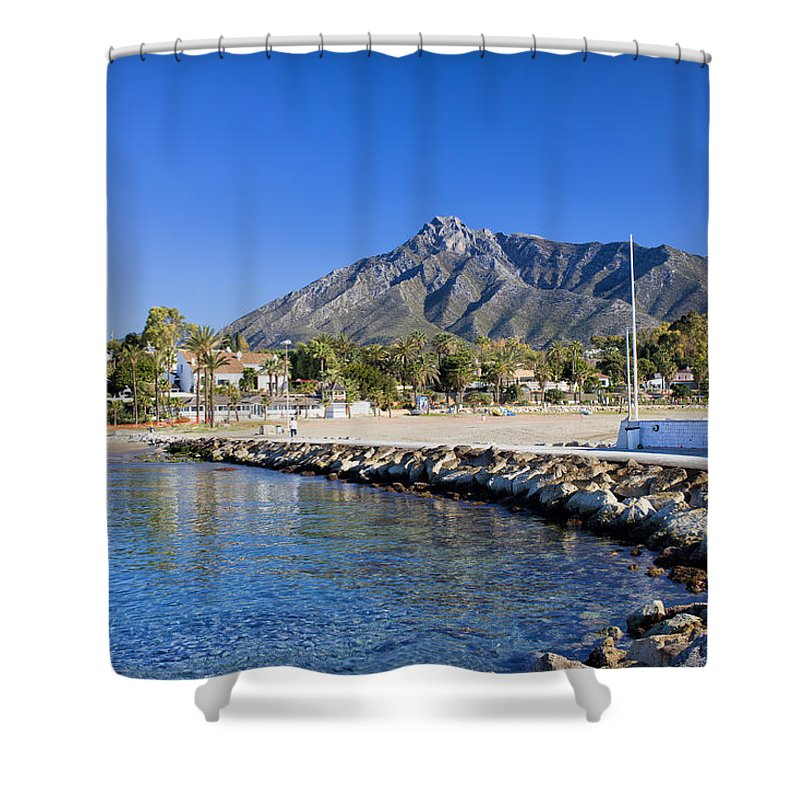 Pier Shower Curtain featuring the photograph Marbella Holiday Resort In Spain by Artur Bogacki