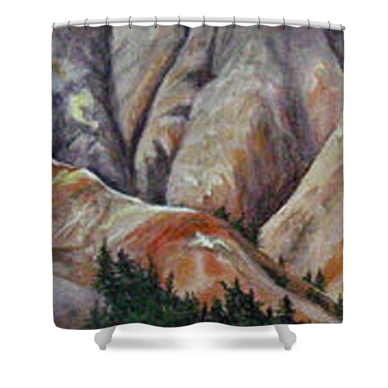 Mountains Shower Curtain featuring the painting Marble Ridge by Elaine Booth-Kallweit