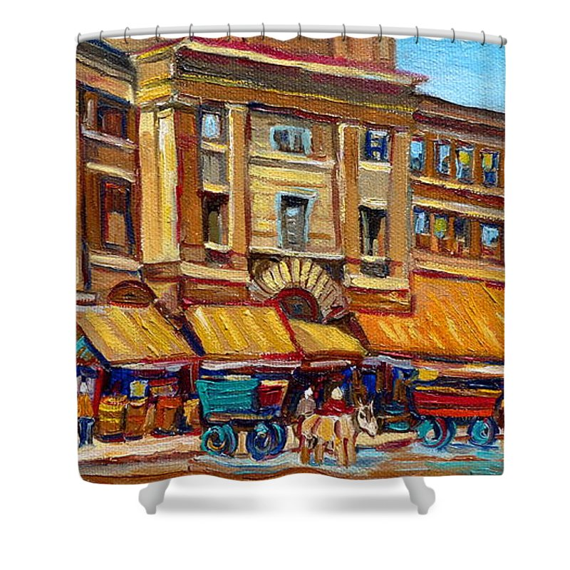 Montreal Art Shower Curtain featuring the painting Marche Bonsecours Old Montreal by Carole Spandau