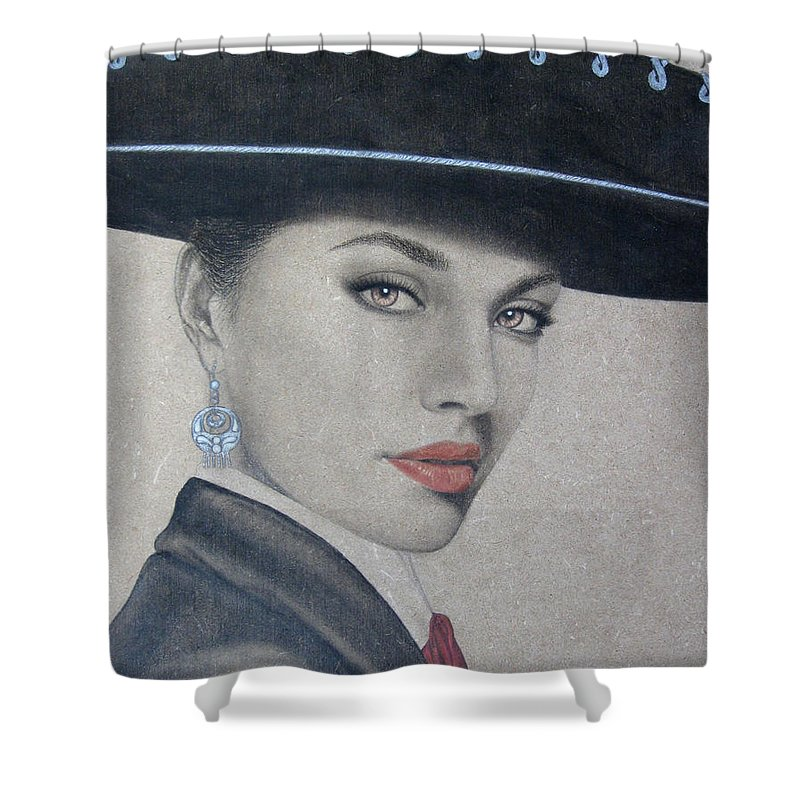 Mariachi Shower Curtain featuring the painting Mariachi by Lynet McDonald