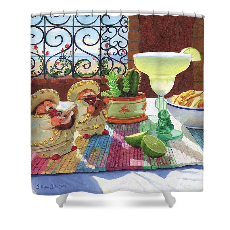 Cocktail Shower Curtain featuring the painting Mariachi Margarita by Steve Simon