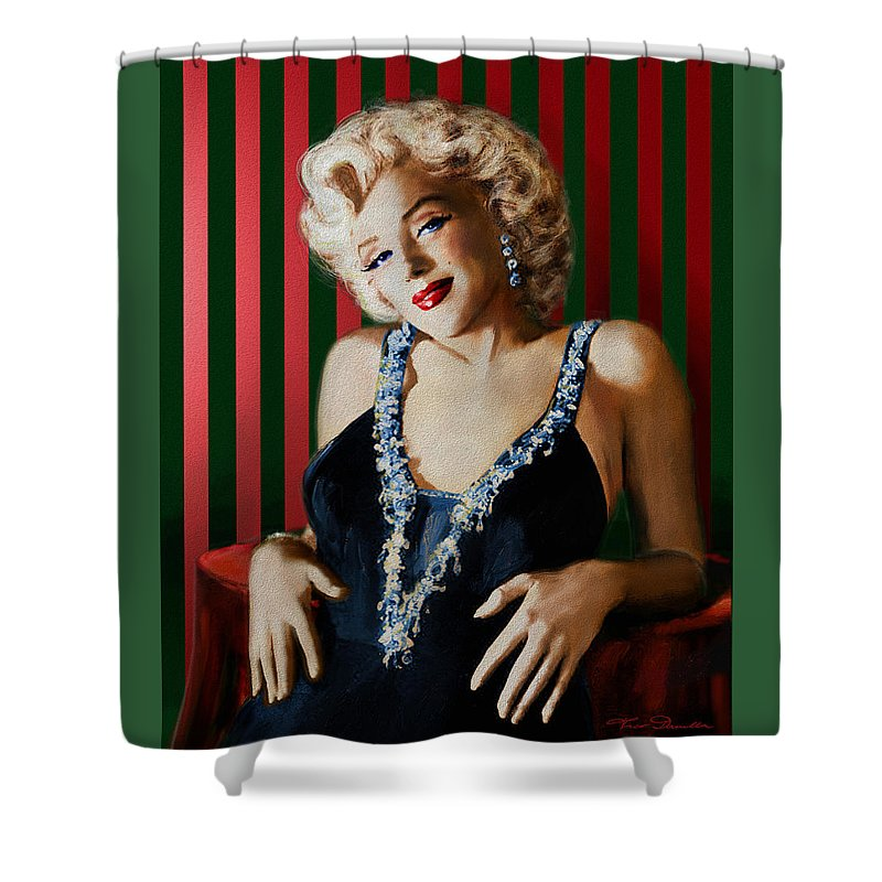 Theo Danella Shower Curtain featuring the painting Marilyn 126 D Stripes by Theo Danella