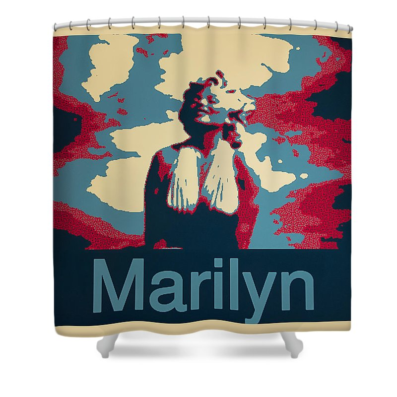Barbara Snyder Shower Curtain featuring the digital art Marilyn Poster by Barbara Snyder