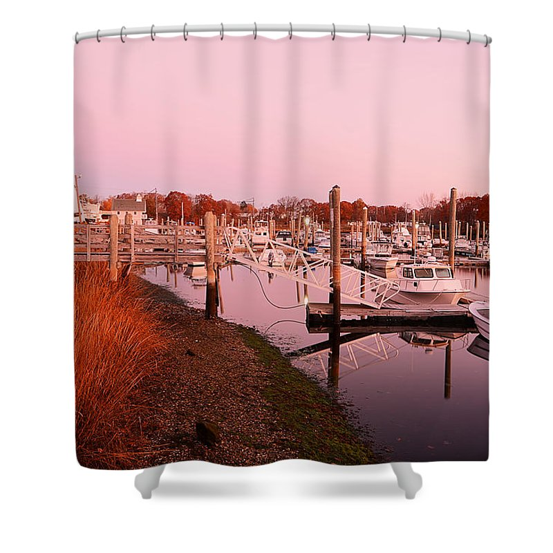 Warwick Shower Curtain featuring the photograph Marina Sunrise by Lourry Legarde