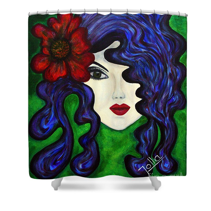 Queen Shower Curtain featuring the painting Mariposa Fairy Queen by Jolanta Anna Karolska