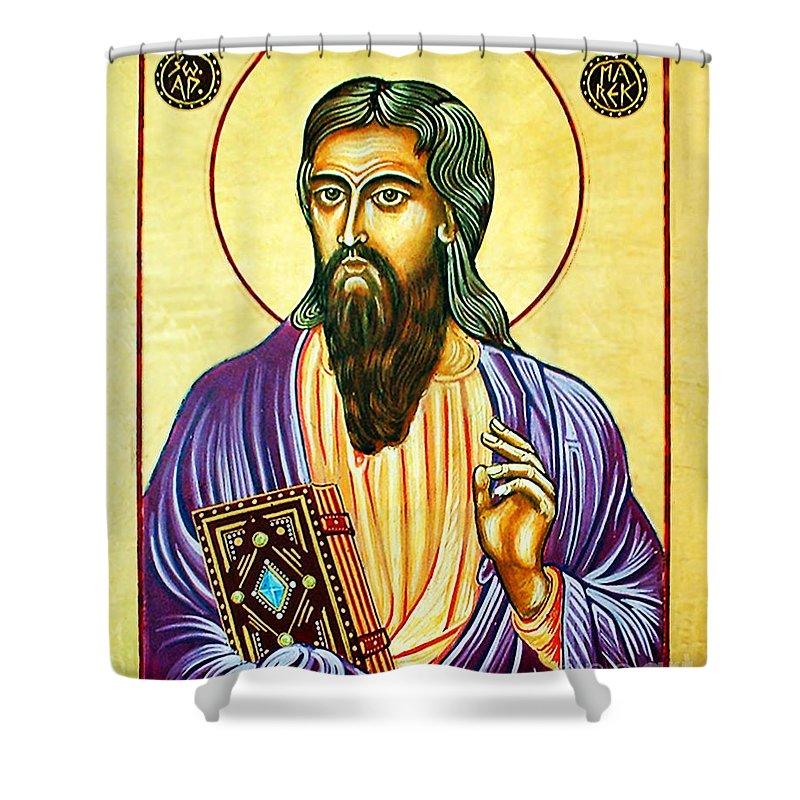 Mark The Evangelist Shower Curtain featuring the painting Mark The Evangelist Icon by Ryszard Sleczka