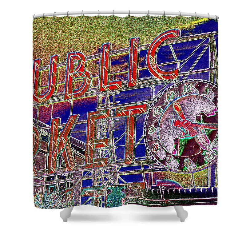 Seattle Shower Curtain featuring the digital art Market Clock 1 by Tim Allen
