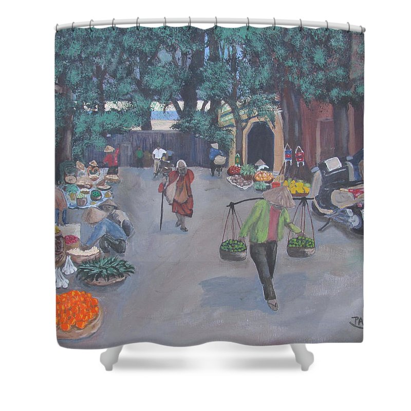 Asian Market Trees Green Leaves Vietnam Southeast Asia Saigon Market Place Street Scene Oriental Conical Hats Motorcycle Fruits Melons Chinese Street Meat Asian Woman Art Prints On Canvas Work Of Art Fine Art Work Colorful Acrylic Paintings Landscape Canvas Paintings For Sale Buy Art Wall Art Canvas Artist Canvas Paintings For Sale Paintings Acrylic Paintings On Canvas Shower Curtain featuring the painting Saigon Market Day by Pete Souza