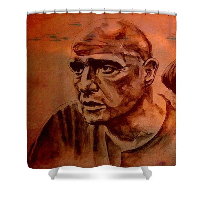 Marlon Brando Shower Curtain featuring the painting Marlon Brando As Colonel Kurtz by Richard Tito