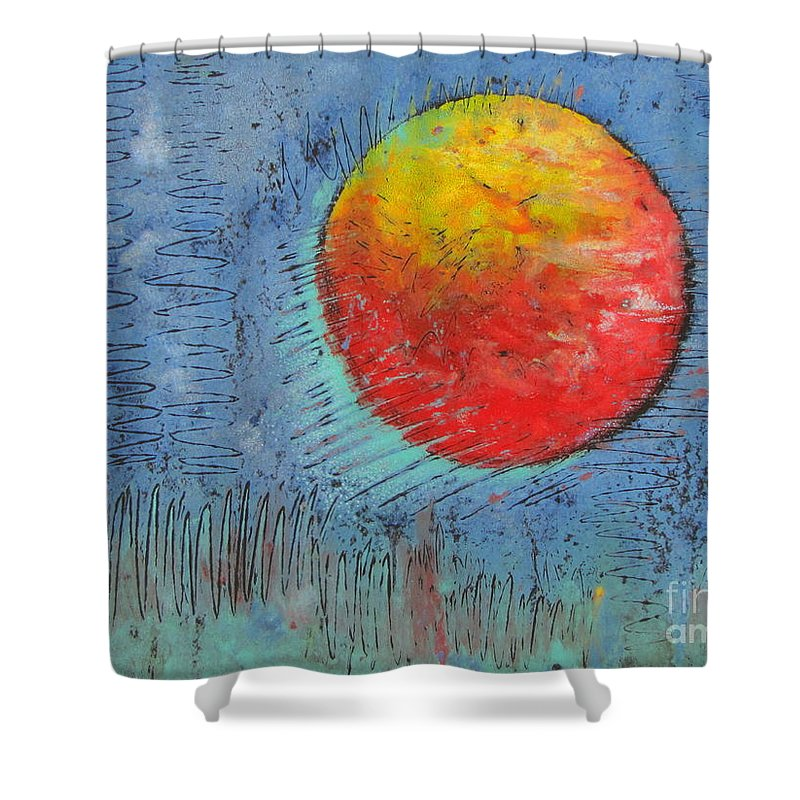 Mars Shower Curtain featuring the mixed media Mars On Black by Pamela Iris Harden