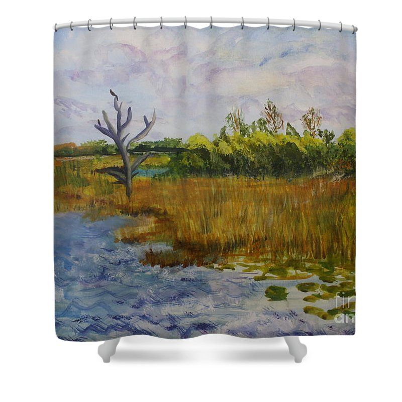 Art Shower Curtain featuring the painting Marsh At Green Cay by Donna Walsh