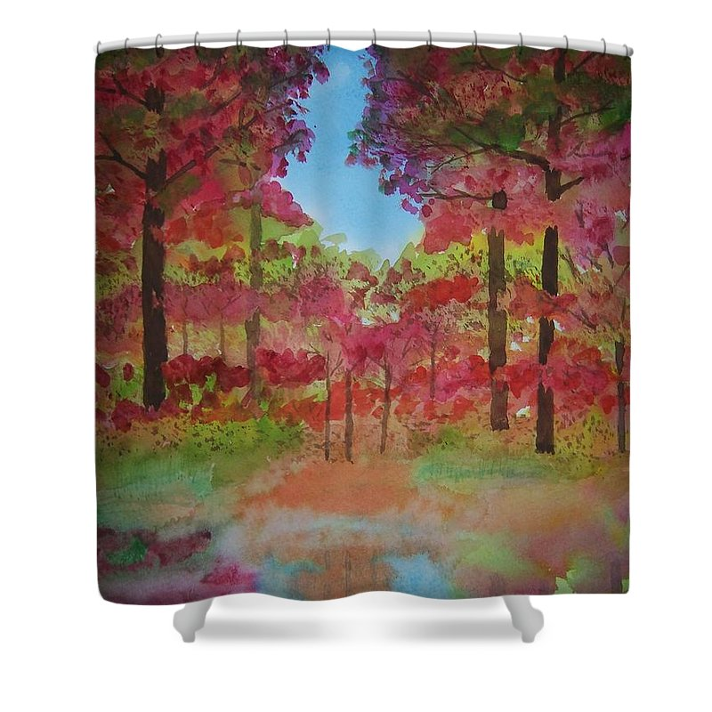 Autumn Shower Curtain featuring the painting Marsh by B Kathleen Fannin