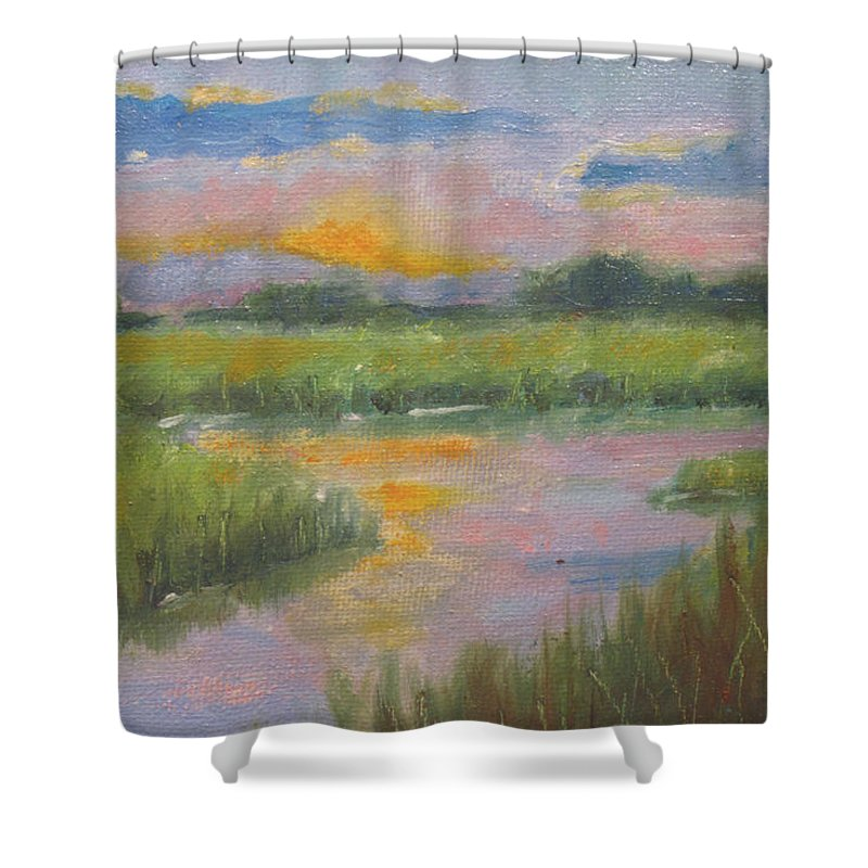 River Shower Curtain featuring the painting Marsh Light by Sarah Parks
