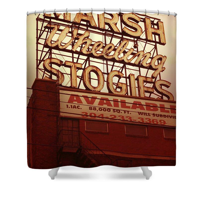Marsh Stogies Sign Shower Curtain featuring the digital art Marsh Stogies Sign by Jim Zahniser