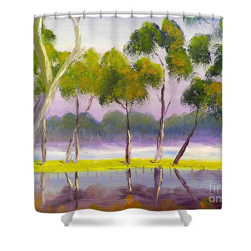 Impressionist Shower Curtain featuring the painting Marshlands Murray River Red River Gums by Pamela Meredith